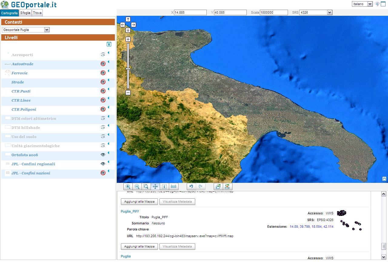 Il webgis client di GEOportale.it